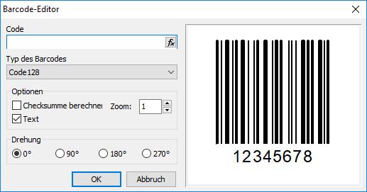 Barcode bearbeiten