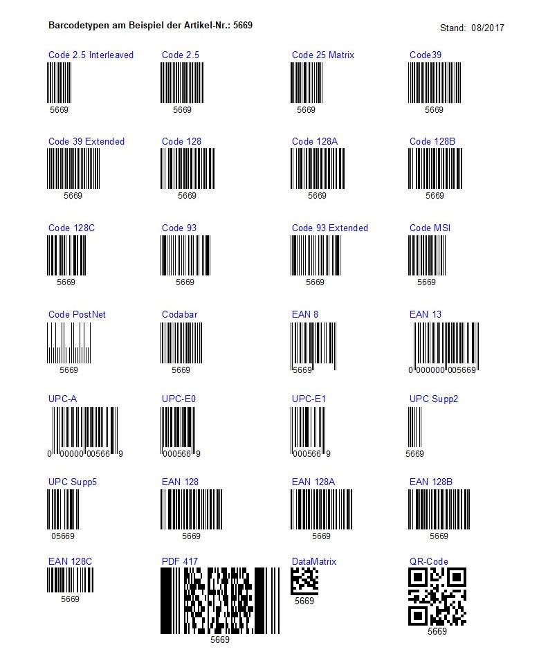 Barcodetypen